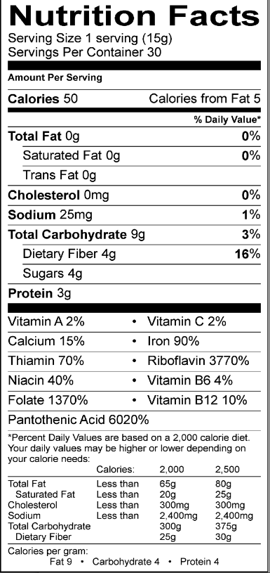 Image of my Greens Formula nutritional facts