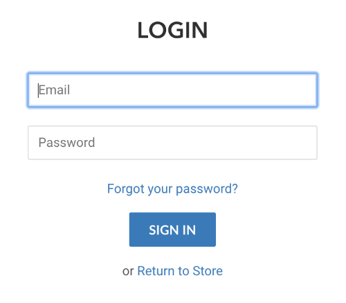 Image of log in screen