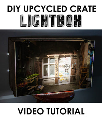 How to make a lightbox with an upcycled wooden crate. Step by step tutorial video.