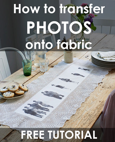 How to transfer photographs onto fabric. Make your own family table runner.