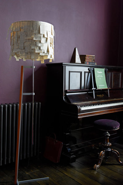 Upcycled musical score lampshade.