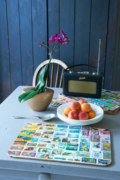 Stamp collection place mats.