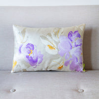 Cream Silver Purple Vintage Obi Cushion Floral Peony
