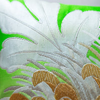 Silver Green Gold Floral Embroidery Cushion Detail