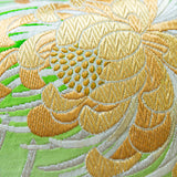 Floral Cushion in Green Vintage Obi Silk Kiku Chrysanthemum