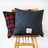 Grey Wool Tartan Cushion Upcycled Vintage 1960s Gannex The Duke