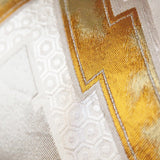 Geometric Cushion Detail Gold Silver Japanese Obi Cushion
