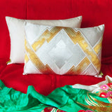 Metallic Gold Japanese Obi Pillow Upcycled Vintage Silk