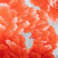 Peony Cushion Orange Silk Floral Embroidery Pillow