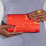Red Fold Over Clutch bag Vintage Kimono Silk Evening Bag