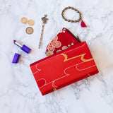 Red Silk Clutch Bag Vintage Kimono Bag
