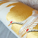 Cream and Gold Japanese Cranes Bolster Pillow with gold couchwork