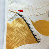 Gold Cream Crane Pillow