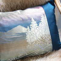 Kimono Cushion Cover -Blue Mountain -Silk Velvet Pillow Sham