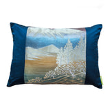 Blue Mountain Japanese Kimono Cushion
