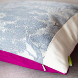 Grey obi silk pillow cover with pink silk reverse
