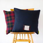 Cover Navy Wool Tartan Cushion 1960s The Harold