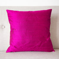Pillow cover in shocking pink silk