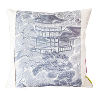Pillow cover silver temples bright pink back