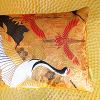 Japanese Kimono Pillow with Crane detail