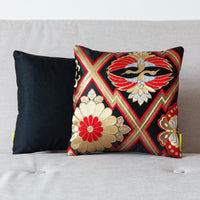 Designer black silk pillows
