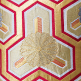 Detail of Gold Red Vintage Obi Cushion Kiku Mons Chrysanthemum Japan