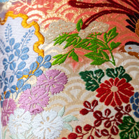 Floral embroidery long cushion