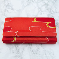 Foldover Clutch Red Silk Bag For Evening