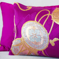 Gold and Purple Silk Cushion made with Japanese Kimono