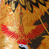 Gold bird vintage silk embroidery cushion