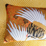 Gold Bolster Pillow made from Vintage Silk Kimono
