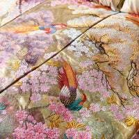 Gold Designer Throw Upcycled Vintage Kimono Blanket