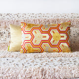 Gold Red Kimono Cushion Upcycled Vintage Japanese Obi Pillow