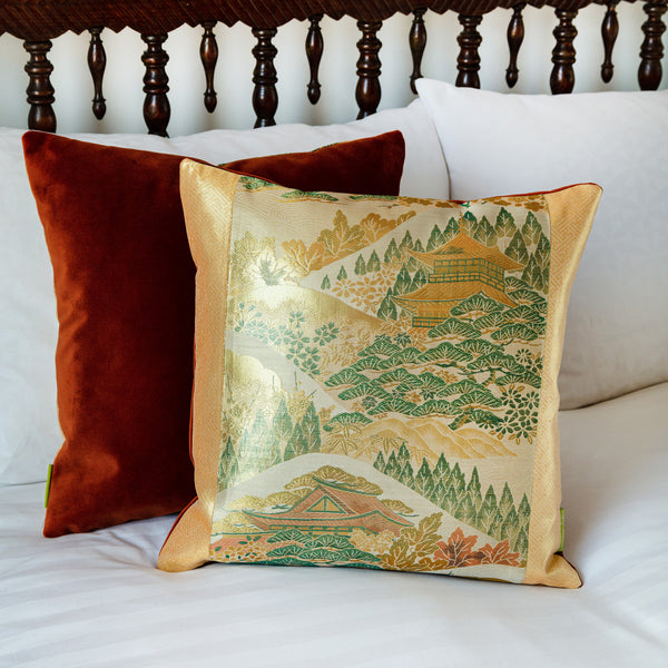 gold temple cushion cover