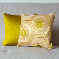 Green and gold oriental throw pillows