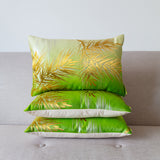 Green Cushion Upcycled Vintage Kimono Obi PIllow Gold Pine Tree