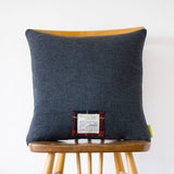 Grey Wool Cushion Vintage Gannex Elland Yorkshire Kagan