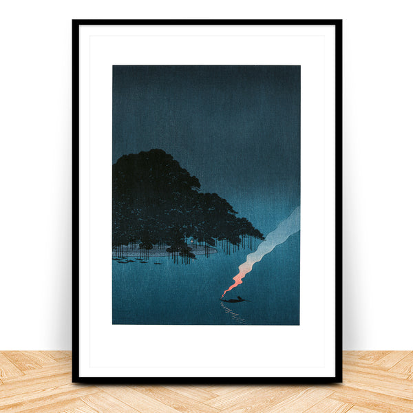 Pines at night japanese woodblock art print