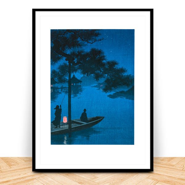 Shubi Pines at night Japanese Woodblock Print
