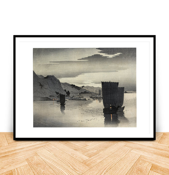 Ohara Koson Ships at Anchor Japanese Art Print