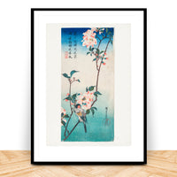small birds and flowers japanese print hiroshige 1830s
