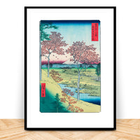 Hiroshige Woodblock Print Sunset Hill Maples