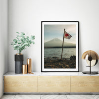 Vintage Photo Japan Mt Fuji Lake Flag Print