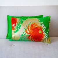 Japanese Kimono Cushion Green Red Gold