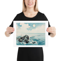 Waves Crashing on Rocks Japanese Woodcut Print