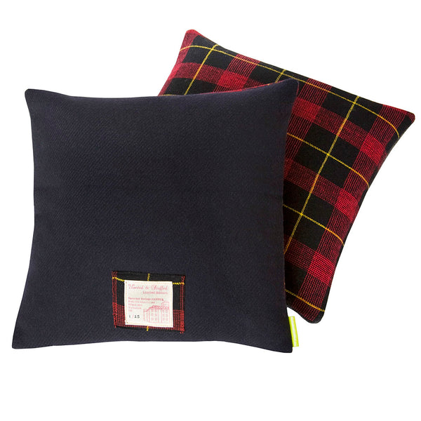 Navy Wool Plaid Cushion Tartan Wool Pillow