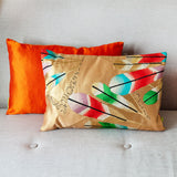 Gold Cushion Metallic Gilt Feathers -Hollywood Regency Silk Kimono Pillow