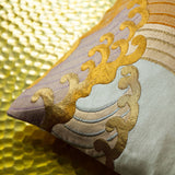 Upcycled Vintage Obi Pillow -Gold Ocean Waves