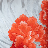 Orange Floral Embroidery Cushion Cream Silver