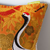 Orange Oriental Bolster Cushion Upcycled Vintage Wedding Kimono